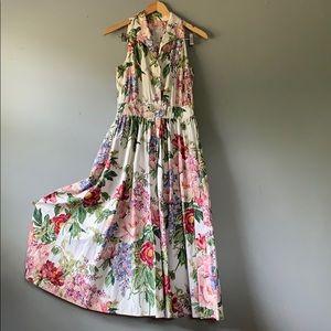 Vintage Floral Collared Cotton Tea Dress size 12